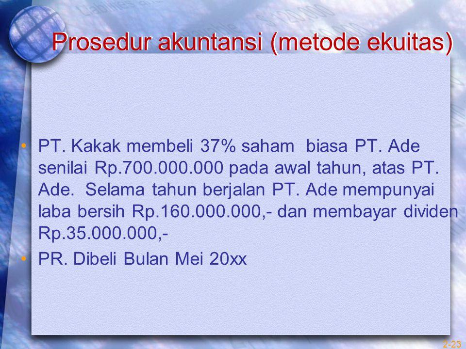 Prosedur akuntansi (metode ekuitas) PT. Kakak membeli 37% saham biasa PT. Ade senilai Rp.700.000.000 pada awal tahun, atas PT. Ade. Selama tahun berja
