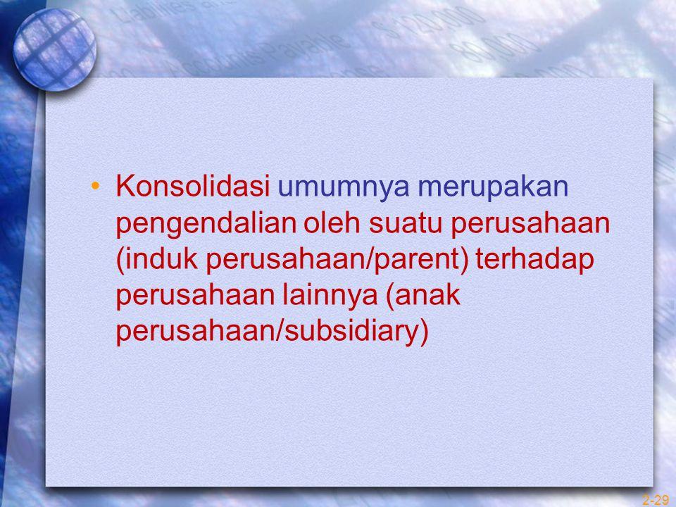 2-29 Konsolidasi umumnya merupakan pengendalian oleh suatu perusahaan (induk perusahaan/parent) terhadap perusahaan lainnya (anak perusahaan/subsidiar