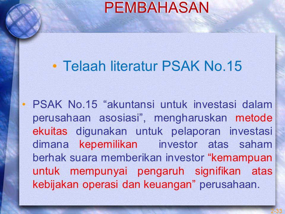 """PEMBAHASAN Telaah literatur PSAK No.15 PSAK No.15 """"akuntansi untuk investasi dalam perusahaan asosiasi"""", mengharuskan metode ekuitas digunakan untuk p"""