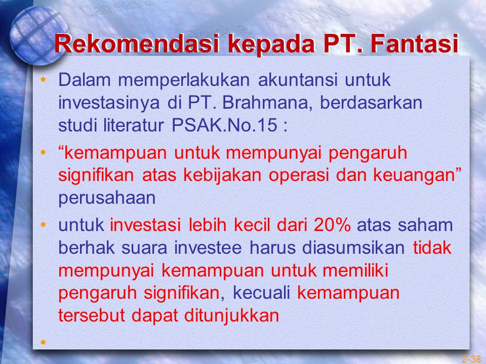 """Rekomendasi kepada PT. Fantasi Dalam memperlakukan akuntansi untuk investasinya di PT. Brahmana, berdasarkan studi literatur PSAK.No.15 : """"kemampuan u"""