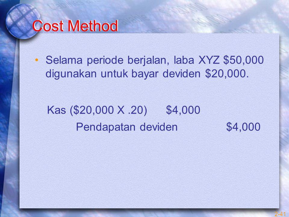 2-41 Cost Method Selama periode berjalan, laba XYZ $50,000 digunakan untuk bayar deviden $20,000. Kas ($20,000 X.20) $4,000 Pendapatan deviden $4,000