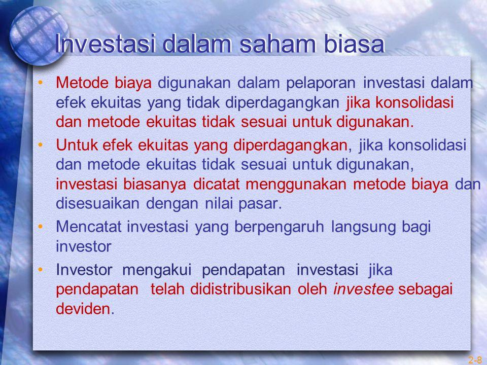 2-8 Metode biaya digunakan dalam pelaporan investasi dalam efek ekuitas yang tidak diperdagangkan jika konsolidasi dan metode ekuitas tidak sesuai unt