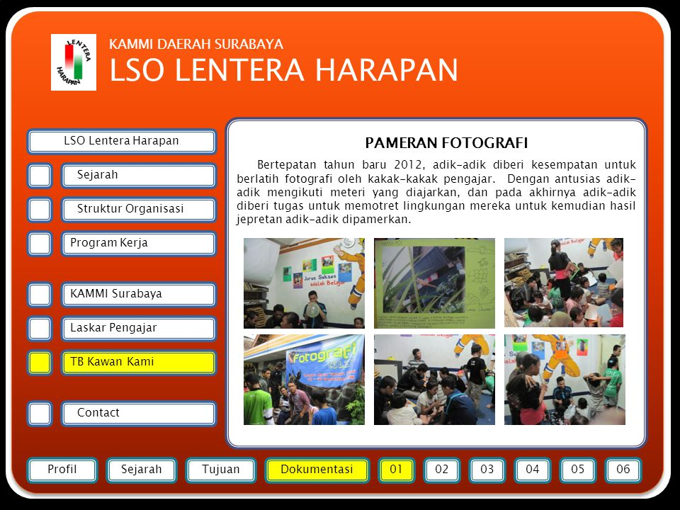 Forsmawi Surabaya PAMERAN FOTOGRAFI Bertepatan tahun baru 2012, adik-adik diberi kesempatan untuk berlatih fotografi oleh kakak-kakak pengajar. Dengan