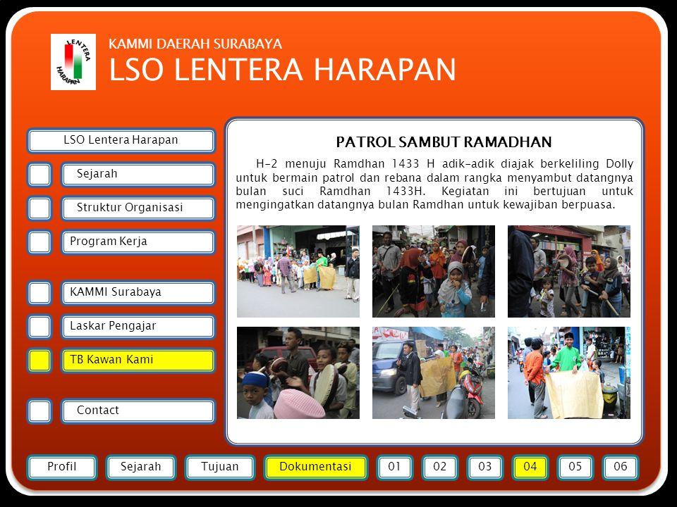 Forsmawi Surabaya PATROL SAMBUT RAMADHAN H-2 menuju Ramdhan 1433 H adik-adik diajak berkeliling Dolly untuk bermain patrol dan rebana dalam rangka menyambut datangnya bulan suci Ramdhan 1433H.