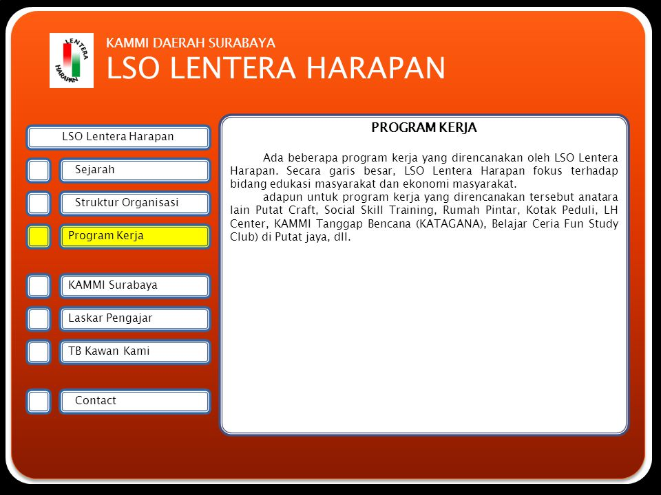 Forsmawi Surabaya KAMMI SURABAYA Kesatuan Aksi Mahasiswa Muslim Indonesia (KAMMI) Surabaya merupakan organisasi induk LSO Lentera Harapan yang menjadi Lembaga Semi Otonom di bawah KAMMI Surabaya.