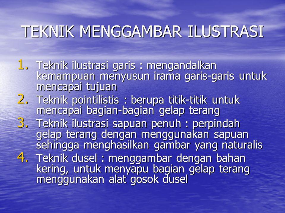 MEDIA GAMBAR ILUSTRASI 1.Bahan kering : arang gambar, potlot, konte, krayon, dan spidol 2.