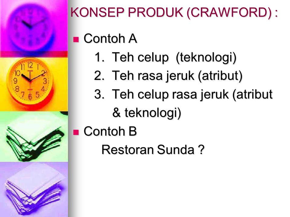KONSEP PRODUK (CRAWFORD) : Contoh A Contoh A 1.Teh celup (teknologi) 1.