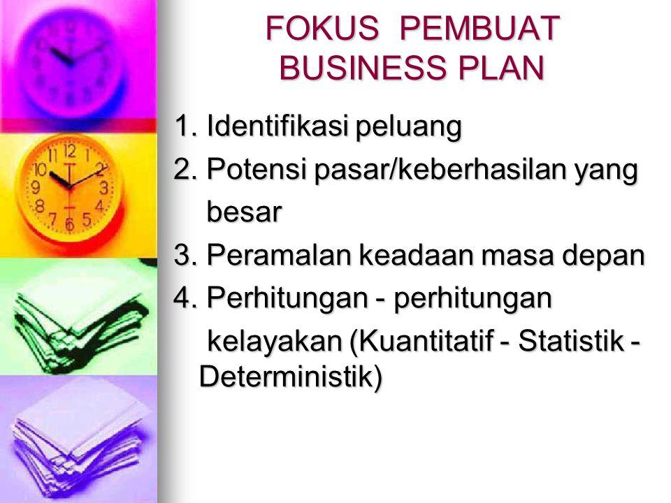 FOKUS PEMBUAT BUSINESS PLAN 1.Identifikasi peluang 2.