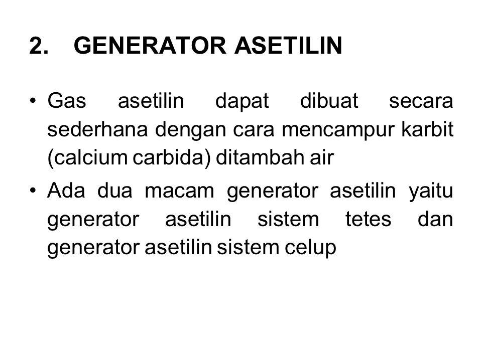 2.GENERATOR ASETILIN Gas asetilin dapat dibuat secara sederhana dengan cara mencampur karbit (calcium carbida) ditambah air Ada dua macam generator as