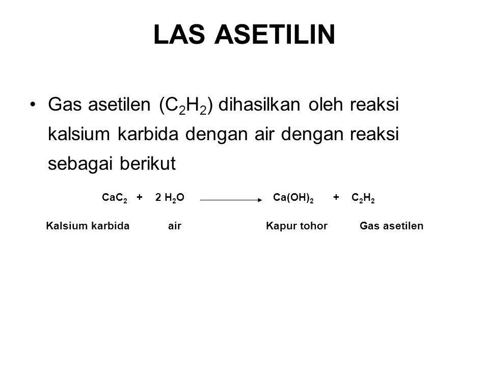 Gas asetilen (C 2 H 2 ) dihasilkan oleh reaksi kalsium karbida dengan air dengan reaksi sebagai berikut Kalsium karbidaairKapur tohorGas asetilen CaC
