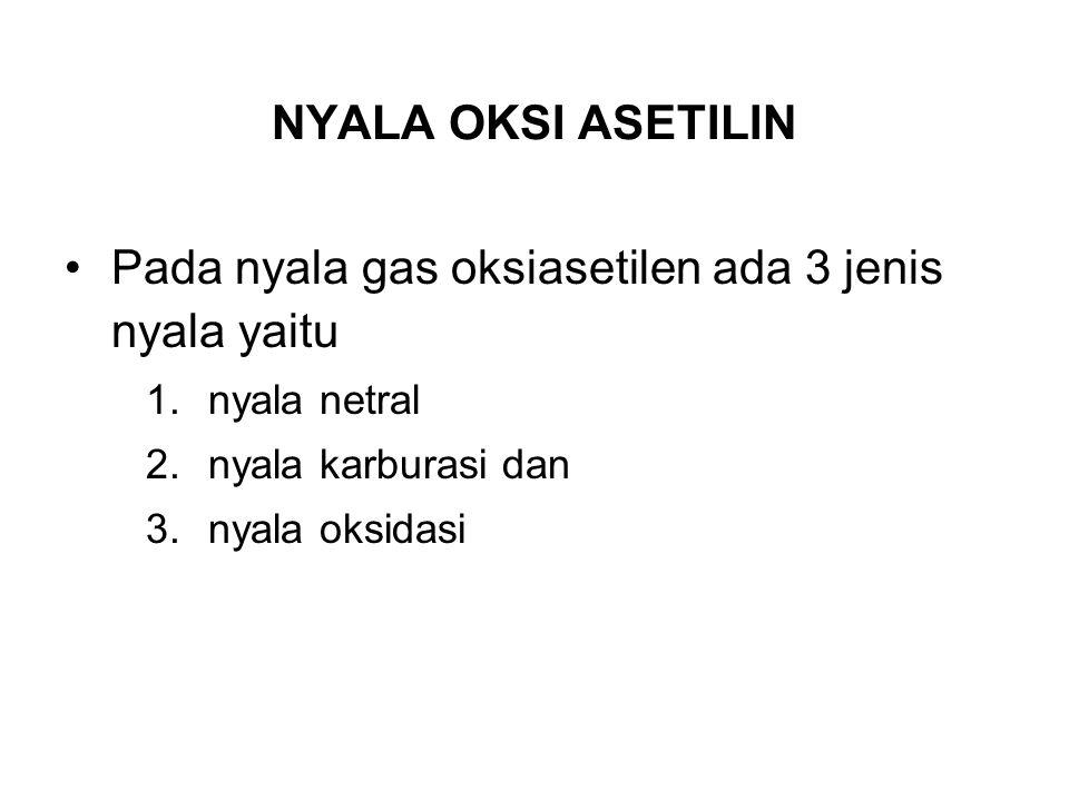 NYALA OKSI ASETILIN Pada nyala gas oksiasetilen ada 3 jenis nyala yaitu 1.nyala netral 2.nyala karburasi dan 3.nyala oksidasi