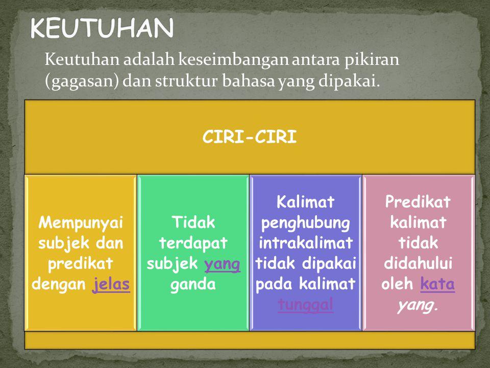 Keutuhan adalah keseimbangan antara pikiran (gagasan) dan struktur bahasa yang dipakai. CIRI-CIRI Mempunyai subjek dan predikat dengan jelasjelas Tida