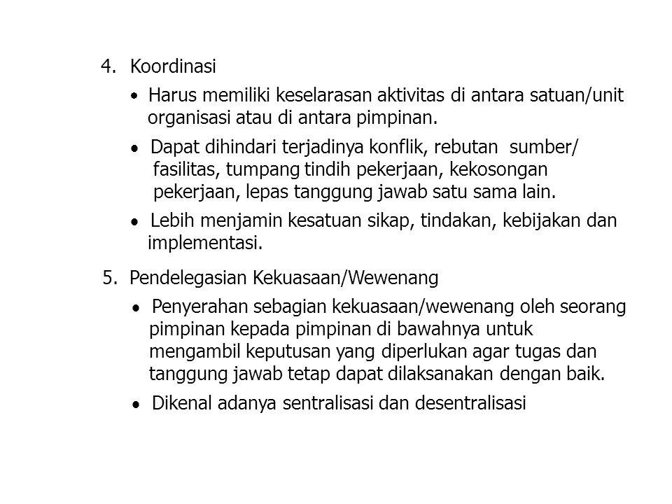 5. Pendelegasian Kekuasaan/Wewenang  Penyerahan sebagian kekuasaan/wewenang oleh seorang pimpinan kepada pimpinan di bawahnya untuk mengambil keputus