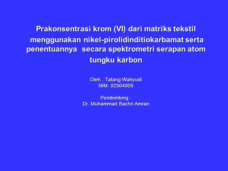 Spektrometri Serapan Atom Tungku Karbon StepTemp ( º C ) Ramp Time ( detik ) Hold Time ( detik ) Internal Flow (Argon) Internal Flow (Argon) 1 120 120 10 10 50 50 250 250 2 1650 1650 1 30 30 250 250 3 20 20 1 15 15 250 250 4 2500 2500 0 5 0 5 2600 2600 1 5 250 250 -Hollow Cathode Lamp (HCL) -Deuterium Lamp Background Correction -Tahapan Operasional