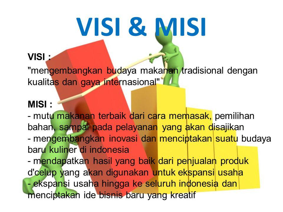 VISI & MISI VISI : mengembangkan budaya makanan tradisional dengan kualitas dan gaya internasional MISI : - mutu makanan terbaik dari cara memasak, pemilihan bahan, sampai pada pelayanan yang akan disajikan - mengembangkan inovasi dan menciptakan suatu budaya baru kuliner di indonesia - mendapatkan hasil yang baik dari penjualan produk d celup yang akan digunakan untuk ekspansi usaha - ekspansi usaha hingga ke seluruh indonesia dan menciptakan ide bisnis baru yang kreatif
