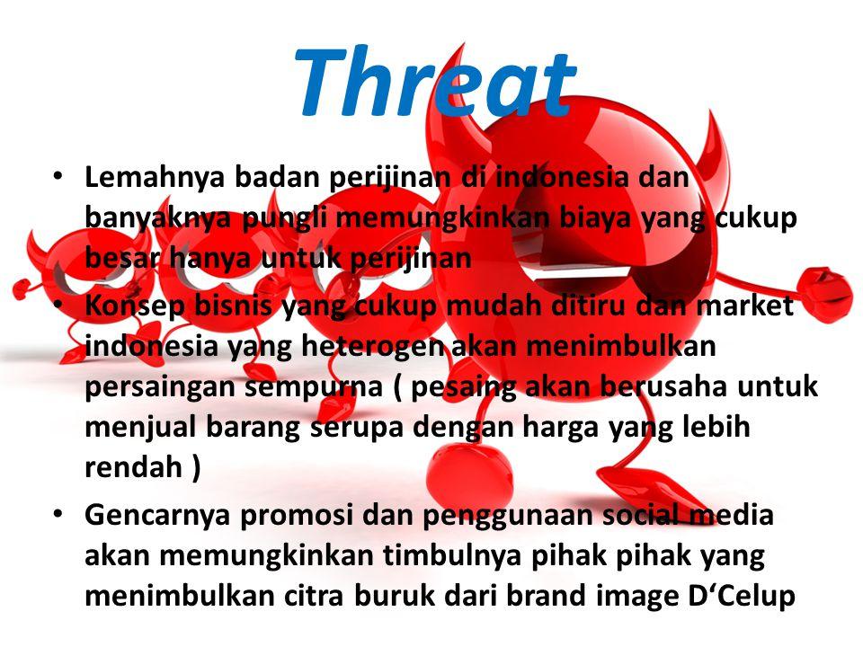 Threat Lemahnya badan perijinan di indonesia dan banyaknya pungli memungkinkan biaya yang cukup besar hanya untuk perijinan Konsep bisnis yang cukup m
