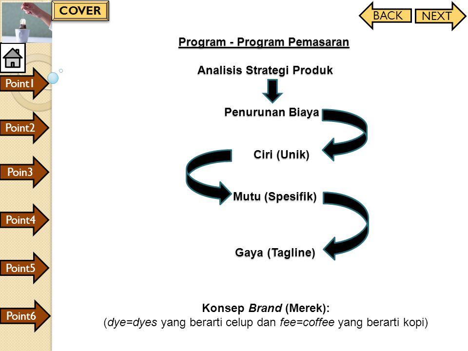 Program - Program Pemasaran Analisis Strategi Produk Penurunan Biaya Ciri (Unik) Mutu (Spesifik) Gaya (Tagline) Konsep Brand (Merek): (dye=dyes yang b