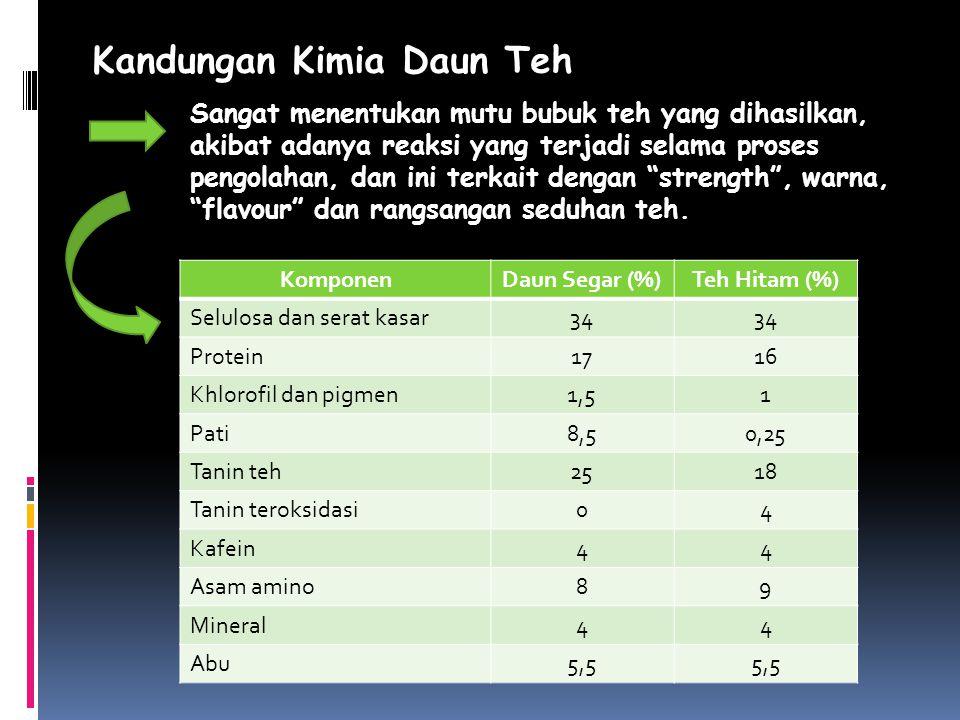Kandungan Kimia Daun Teh KomponenDaun Segar (%)Teh Hitam (%) Selulosa dan serat kasar34 Protein1716 Khlorofil dan pigmen1,51 Pati8,50,25 Tanin teh2518
