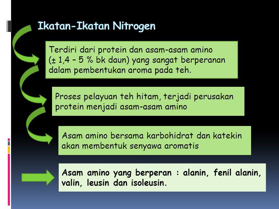 Ikatan-Ikatan Nitrogen Terdiri dari protein dan asam-asam amino (± 1,4 – 5 % bk daun) yang sangat berperanan dalam pembentukan aroma pada teh. Proses