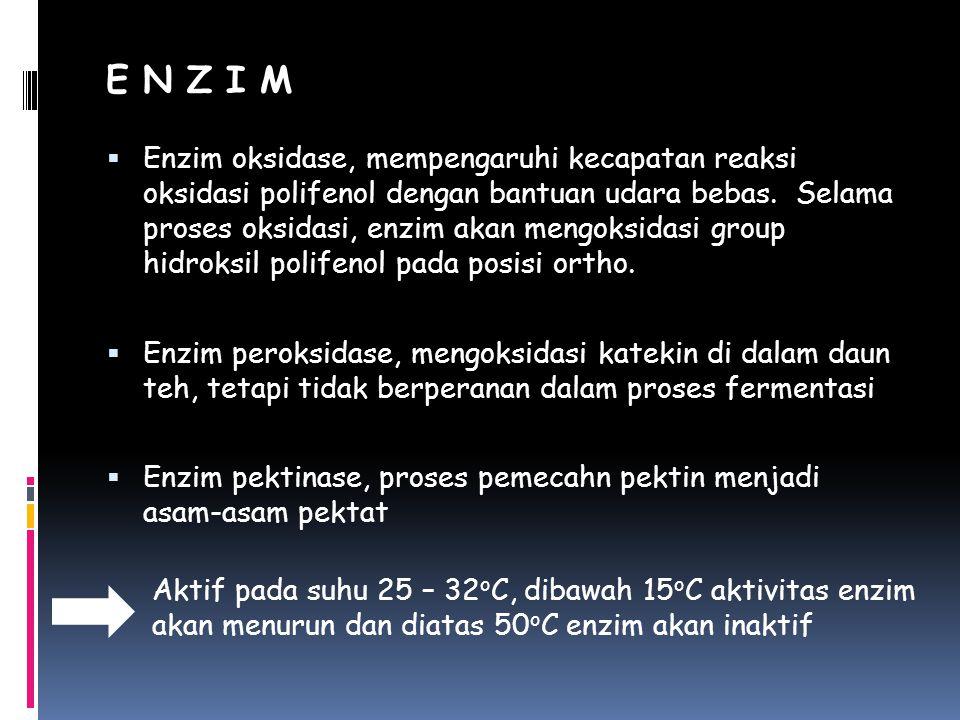 E N Z I M  Enzim oksidase, mempengaruhi kecapatan reaksi oksidasi polifenol dengan bantuan udara bebas. Selama proses oksidasi, enzim akan mengoksida