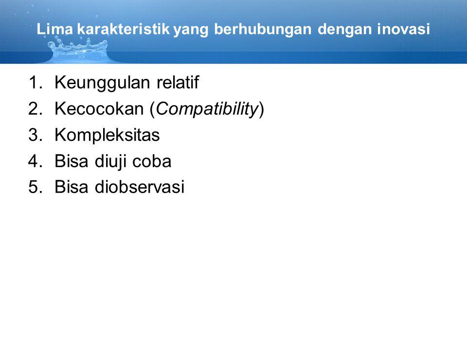 Lima karakteristik yang berhubungan dengan inovasi 1.Keunggulan relatif 2.Kecocokan (Compatibility) 3.Kompleksitas 4.Bisa diuji coba 5.Bisa diobservas