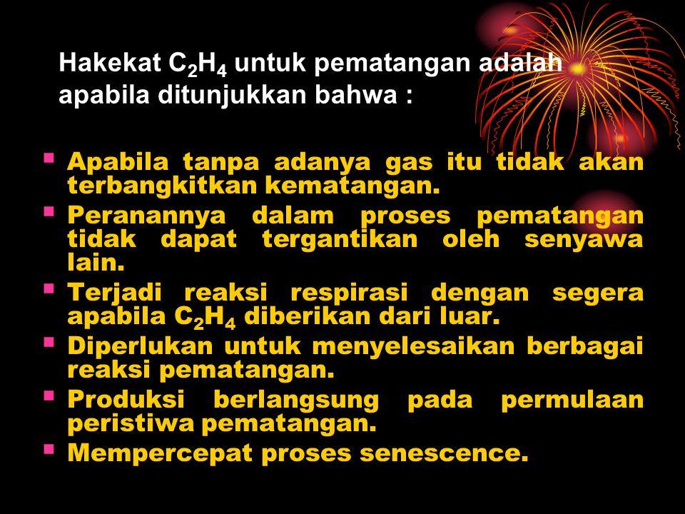 Hakekat C 2 H 4 untuk pematangan adalah apabila ditunjukkan bahwa :  Apabila tanpa adanya gas itu tidak akan terbangkitkan kematangan.