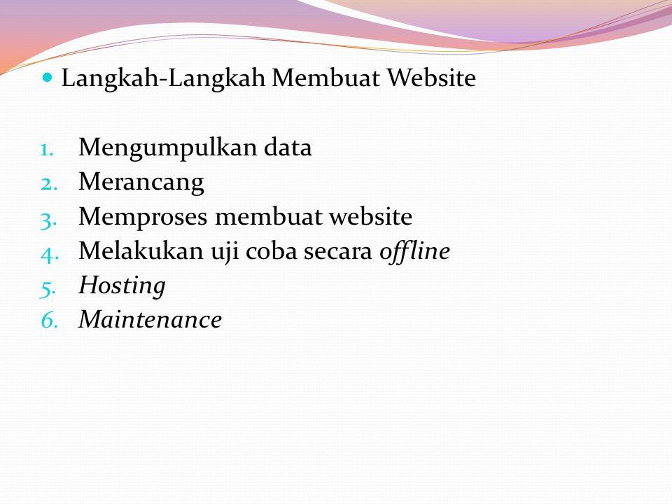 Langkah-Langkah Membuat Website 1. Mengumpulkan data 2. Merancang 3. Memproses membuat website 4. Melakukan uji coba secara offline 5. Hosting 6. Main