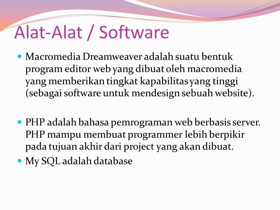Alat-Alat / Software Macromedia Dreamweaver adalah suatu bentuk program editor web yang dibuat oleh macromedia yang memberikan tingkat kapabilitas yan