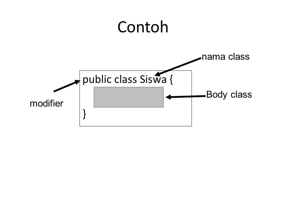 Contoh public class Siswa { } nama class modifier Body class