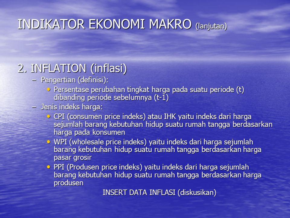 INDIKATOR EKONOMI MAKRO (lanjutan) 2. INFLATION (inflasi) –Pengertian (definisi): Persentase perubahan tingkat harga pada suatu periode (t) dibanding