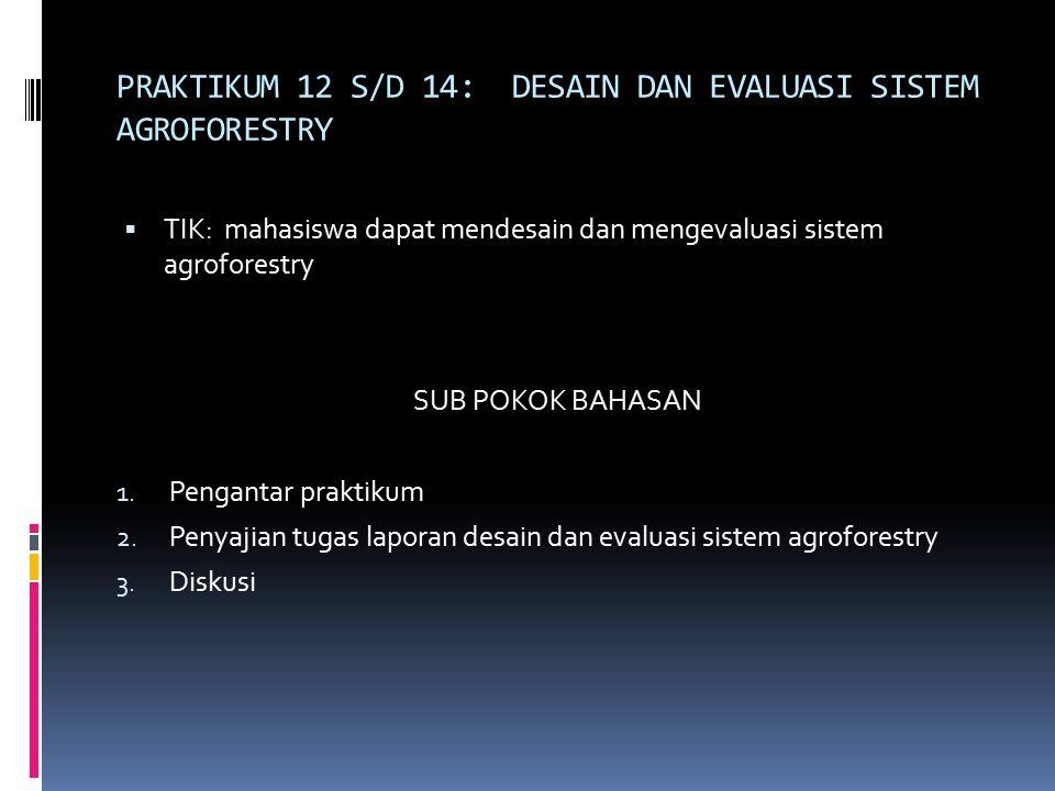 PRAKTIKUM 12 S/D 14: DESAIN DAN EVALUASI SISTEM AGROFORESTRY  TIK: mahasiswa dapat mendesain dan mengevaluasi sistem agroforestry SUB POKOK BAHASAN 1.