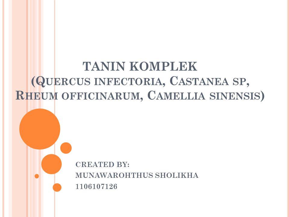 TANIN KOMPLEK (Q UERCUS INFECTORIA, C ASTANEA SP, R HEUM OFFICINARUM, C AMELLIA SINENSIS ) CREATED BY: MUNAWAROHTHUS SHOLIKHA 1106107126