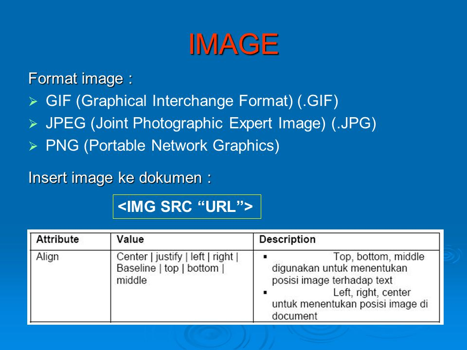 IMAGE Format image :   GIF (Graphical Interchange Format) (.GIF)   JPEG (Joint Photographic Expert Image) (.JPG)   PNG (Portable Network Graphic