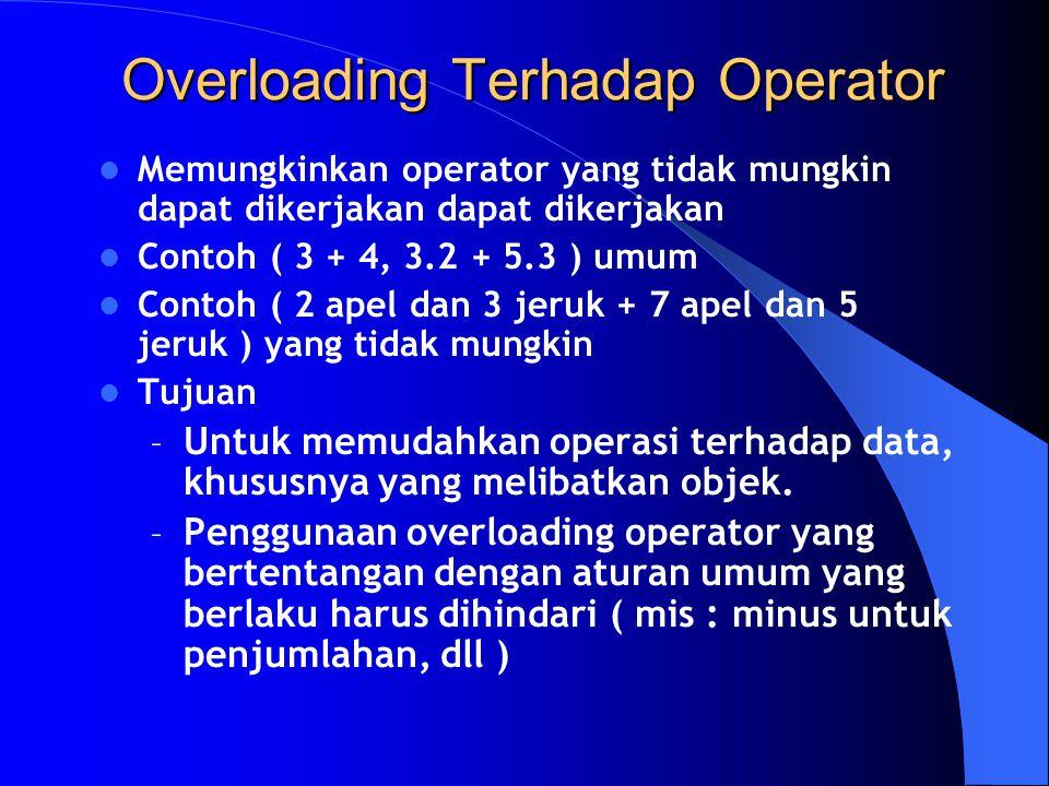 Memungkinkan operator yang tidak mungkin dapat dikerjakan dapat dikerjakan Contoh ( 3 + 4, 3.2 + 5.3 ) umum Contoh ( 2 apel dan 3 jeruk + 7 apel dan 5