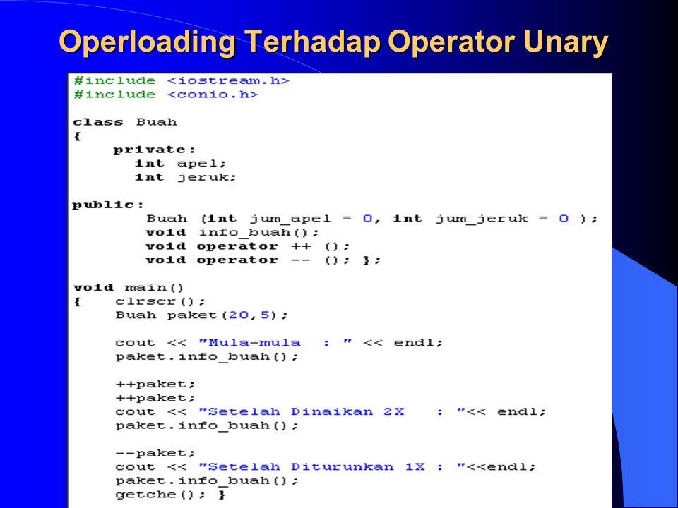 Operloading Terhadap Operator Unary