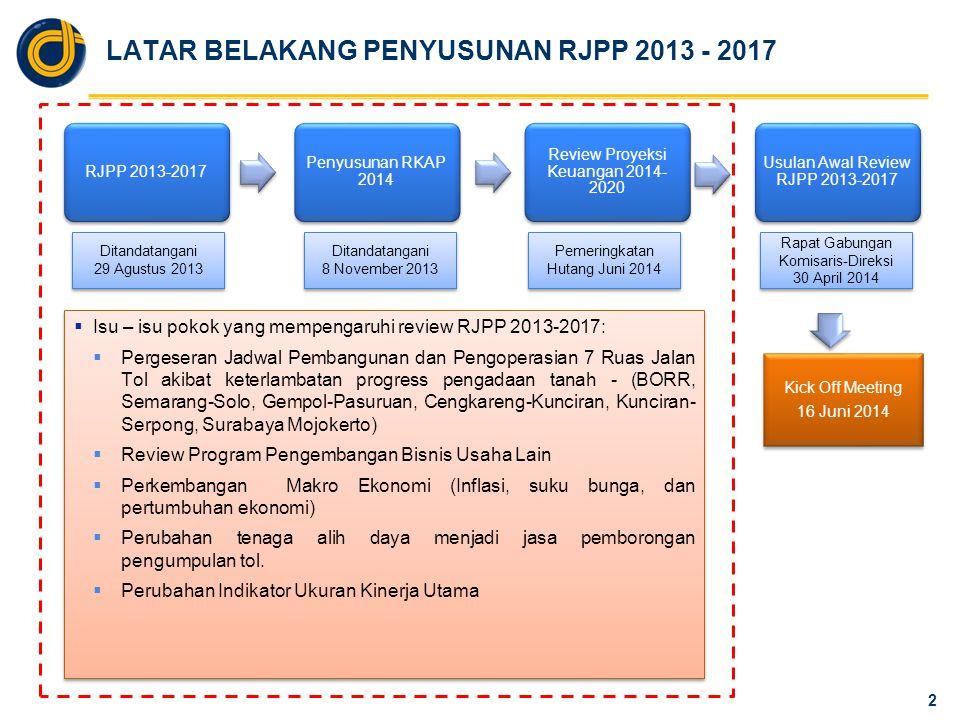 PERBANDINGAN RENCANA OPERASI AP JALAN TOL RJPP 2013-2017 vs RJPP Update 2014 3 NoRuas Jalan Tol Rencana Operasi RJPP 2013-2017 RJPP Update 2014 1Bogor Ring Road Seksi 1 : Sentul Kedung Halang Q4-2009 Seksi 2A : Kd Halang – Kd Badak Q1-2014Q2-2014 Seksi 2B: Kd Badak-YasminQ2-2016Q3-2016 2Semarang - Solo Tahap I Semarang – Bawen: Seksi 1 : Semarang - Ungaran Q4-2010Q3-2011 Seksi 2 : Ungaran – BawenQ4-2013Q2-2014 Tahap II Bawen - SoloQ3-2015Q3-2016 3Gempol - Pasuruan Seksi 1 : Gempol – Rembang Q2-2014Q4-2014 Seksi 2 : Rembang – Pasuruan Q4-2015Q4-2016 Seksi 3 : Pasuruan - GratiQ4-2015Q2-2017 NoRuas Jalan Tol Rencana Operasi RJPP 2013-2017 RJPP Update 2014 4Cengkareng – KunciranQ3-2015Q4-2016 5Kunciran SerpongQ4-2015Q4-2016 6JORR W2 Utara Seksi I – III : Kb Jeruk - Ciledug Q4-2013Q1-2014 Seksi IV : Ciledug - UlujamiQ2-2014Q3-2014 7Surabaya – Mojokerto Seksi 1A : Waru – Sepanjang Q4-2010Q3-2011 Seksi 1B : Sepanjang – WRR Q3-2014Q3-2015 Seksi 2 : WRR – DriyorejoQ4-2014Q4-2015 Seksi 3 : Driyorejo – KrianQ4-2014Q4-2015 Seksi 4 : Krian – MojokertoQ2-2014Q1-2015 8Gempol - PandaanQ4-2013Q3-2014 9Nusa Dua – Ngurah Rai - Benoa Q3-2013