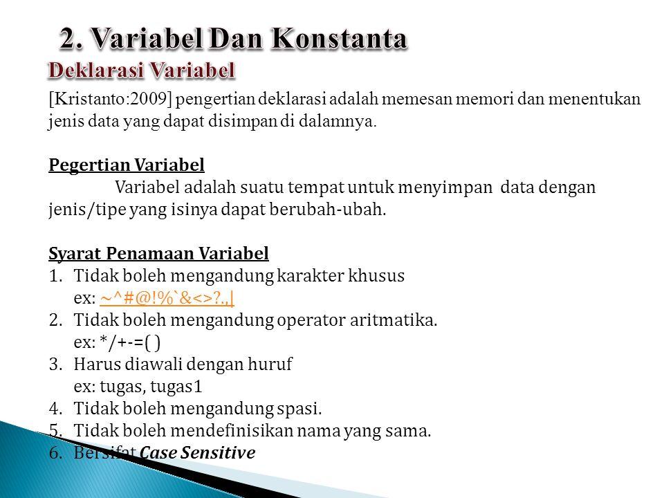 Bentuk Umum: Pada pendeklarasian variabel, daftar variabel dapat berupa sebuah variabel atau beberapa variabel yang dipisahkan dengan tanda koma.
