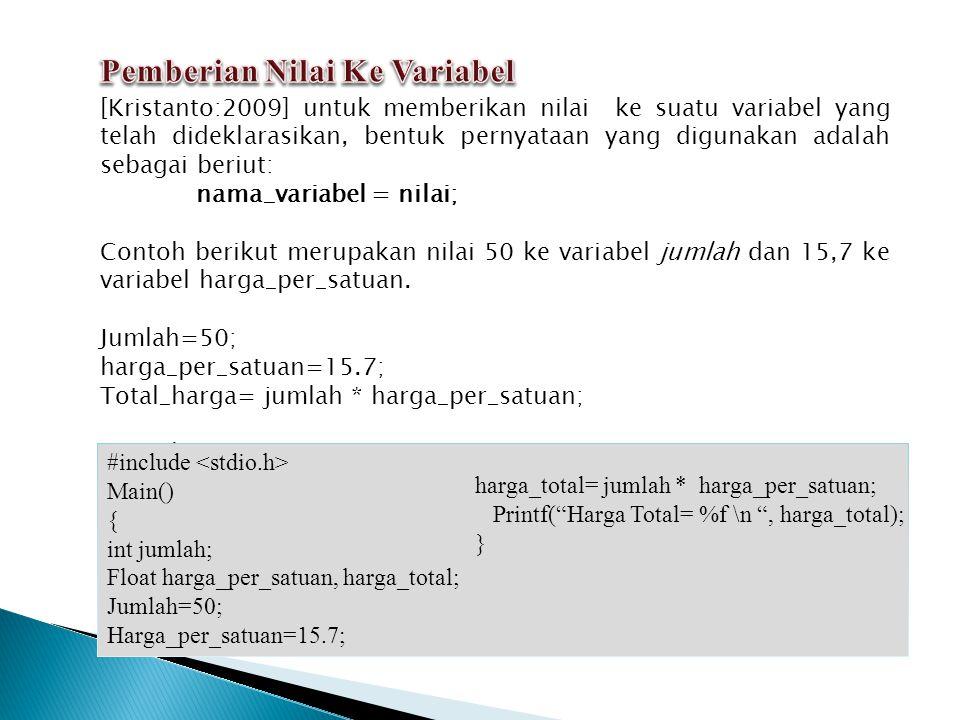 [Kristanto:2009] putchar maupun puts untuk menampilkan hasil dapat digunakan fungsi pustaka cout.