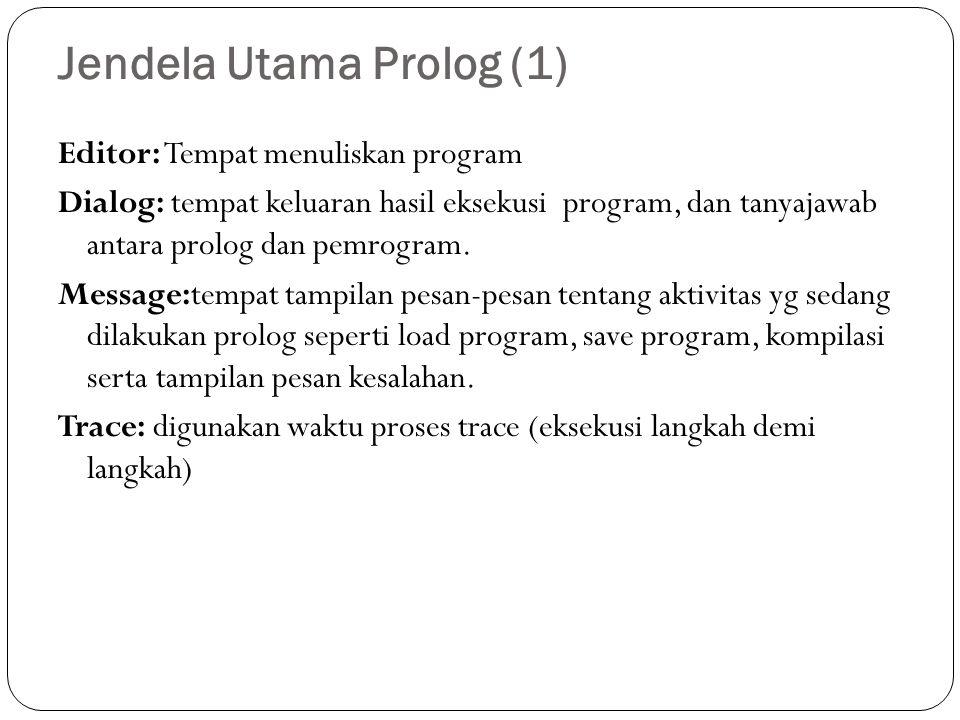 Jendela Utama Prolog (1) Editor: Tempat menuliskan program Dialog: tempat keluaran hasil eksekusi program, dan tanyajawab antara prolog dan pemrogram.