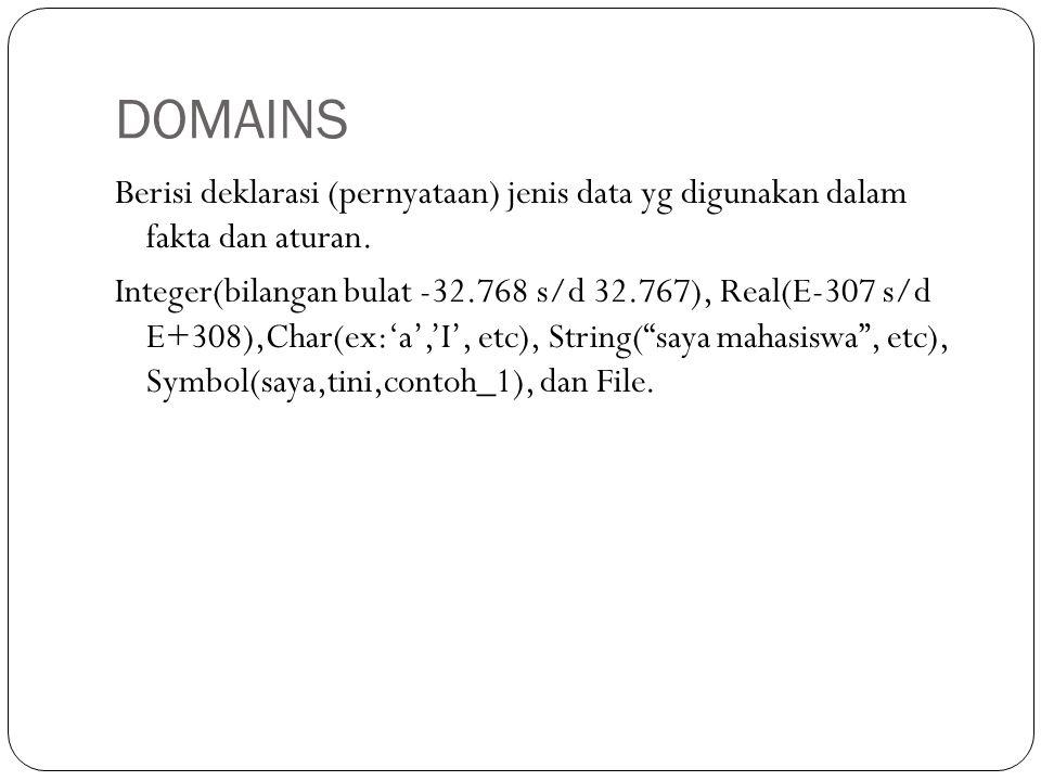 DOMAINS Berisi deklarasi (pernyataan) jenis data yg digunakan dalam fakta dan aturan.