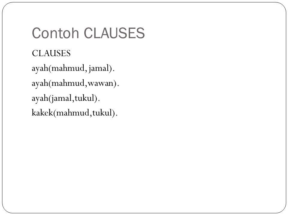 Contoh CLAUSES CLAUSES ayah(mahmud, jamal). ayah(mahmud,wawan).
