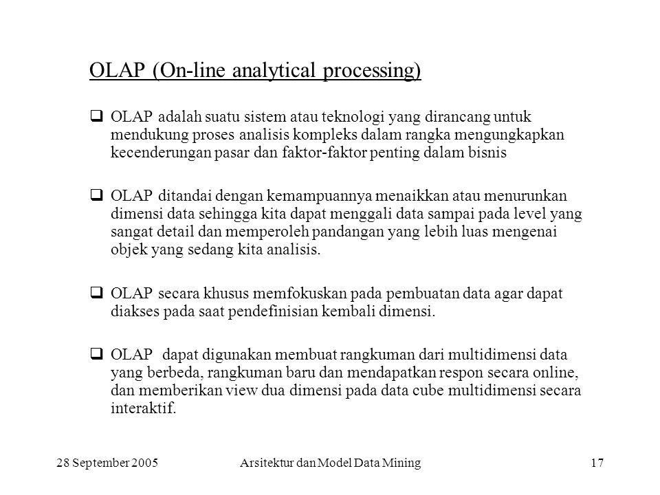 28 September 2005Arsitektur dan Model Data Mining17 OLAP (On-line analytical processing)  OLAP adalah suatu sistem atau teknologi yang dirancang untu