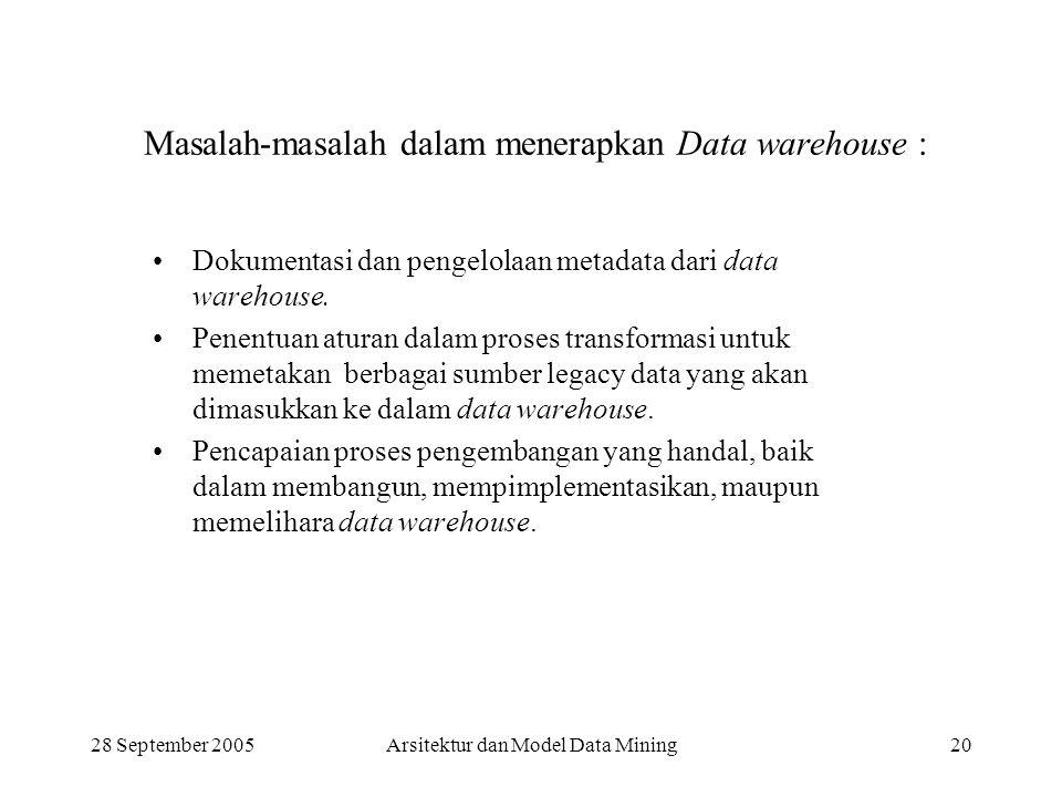28 September 2005Arsitektur dan Model Data Mining20 Masalah-masalah dalam menerapkan Data warehouse : Dokumentasi dan pengelolaan metadata dari data w
