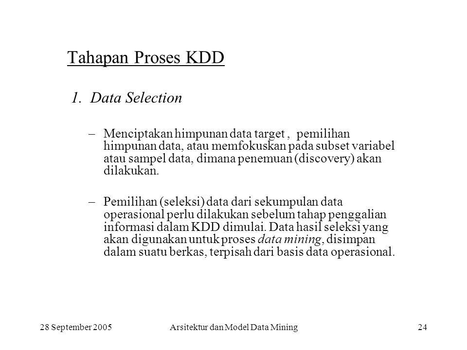 28 September 2005Arsitektur dan Model Data Mining24 Tahapan Proses KDD 1. Data Selection –Menciptakan himpunan data target, pemilihan himpunan data, a