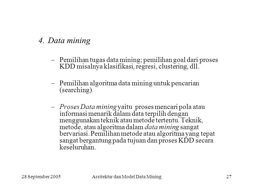 28 September 2005Arsitektur dan Model Data Mining27 4.Data mining –Pemilihan tugas data mining; pemilihan goal dari proses KDD misalnya klasifikasi, r