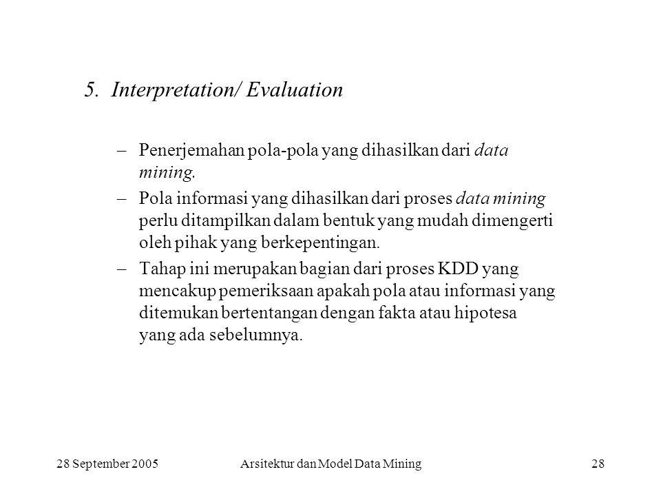 28 September 2005Arsitektur dan Model Data Mining28 5. Interpretation/ Evaluation –Penerjemahan pola-pola yang dihasilkan dari data mining. –Pola info