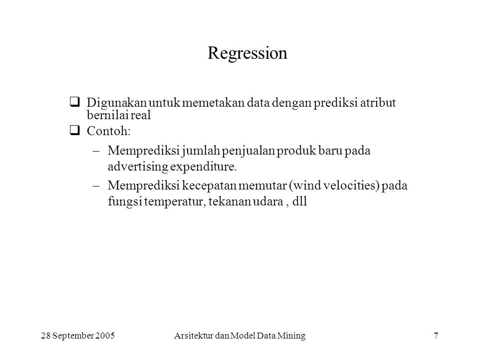 28 September 2005Arsitektur dan Model Data Mining7 Regression  Digunakan untuk memetakan data dengan prediksi atribut bernilai real  Contoh: –Mempre