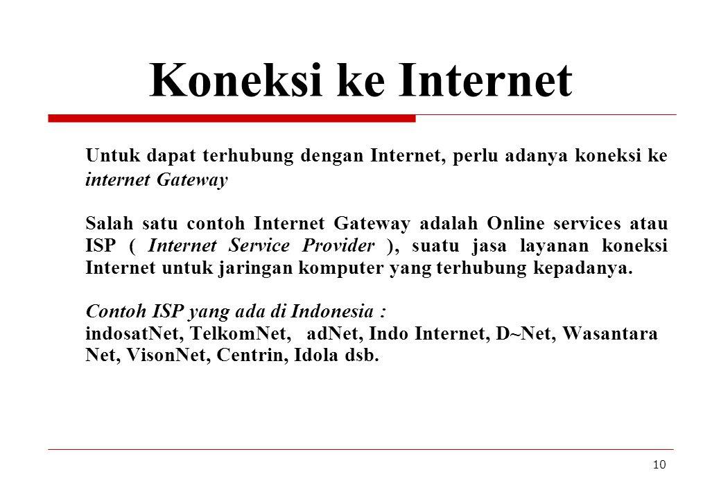 10 Koneksi ke Internet Untuk dapat terhubung dengan Internet, perlu adanya koneksi ke internet Gateway Salah satu contoh Internet Gateway adalah Onlin