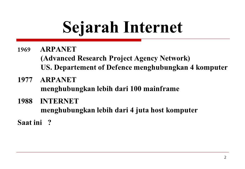 13 Konfigurasi koneksi Contoh peralatan yang dibutuhkan untuk hubungan dari satu komputer : seperangkat komputer Modem Saluran telepon Piranti lunak komunikasi dan protokol TCP/IP Menjadi anggota ISP Piranti lunak aplikasi Internet