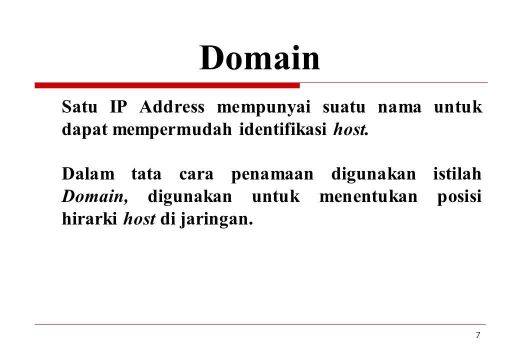 8 Nama Domain com, co: komersial ( microsoft.com, rcti.co.id ) edu, ac: pendidikan ( ucla.edu, gunadarma.ac.id ) gov, go : pemerintahan ( fbi.gov, bppt.go.id ) net: gateway, ISP ( ibm.net, indosat.net.id ) mil : militer ( af.mil, abri.mil.id ) org, or : organisasi ( scout.org, asean.or.id ) au: Australiaca: Canada id: Indonesiamy: Malaysia sg: Singapura